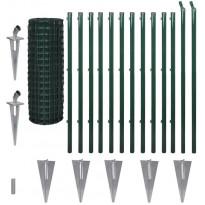 Verkkoaita, tolppa+maapiikki, teräs, 25x1.2m, vihreä