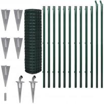 Verkkoaita, tolppa+maapiikki, teräs, 25x1.5m, vihreä