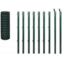 Verkkoaita tolpilla, teräs, 10x1.5m, vihreä