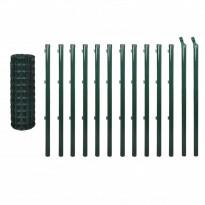 Verkkoaita tolpilla, teräs, 25x1.5m, vihreä