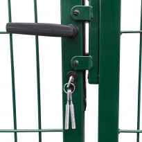 Puutarha-aidan portti tolpilla, 350x100cm, teräs, vihreä