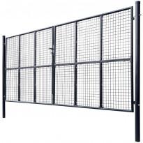 Puutarhaportti, galvanoitu teräsverkko, 400x175cm, harmaa
