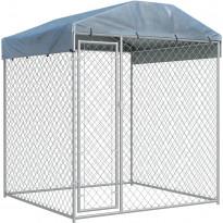 Koiran ulkohäkki suojakatoksella, 2x2x2,1m