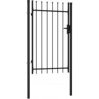 Puutarhaportti, yksi ovi, piikkikärjillä, teräs, 1x1.5m, musta