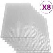 Polykarbonaattilevyt, 8 kpl, 4 mm, 121x60 cm
