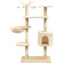 Kissan raapimispuu, sisal-pylväillä, 1 pesällä, 125cm, beige