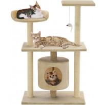 Kissan raapimispuu, sisal-pylväillä, 95cm, beige