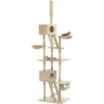Kissan kiipeilypuu, sisal-pylväillä, 230-260cm, beige