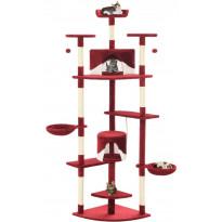Kissan kiipeilypuu, sisal-pylväillä, 203cm, punainen/valkoinen