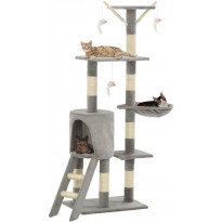 Kissan raapimispuu, sisal-pylväillä, 49x35x138cm, harmaa