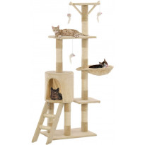 Kissan raapimispuu, sisal-pylväillä, 49x35x138cm, beige