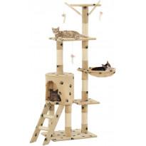 Kissan raapimispuu, sisal-pylväillä, 49x35x138cm, tassukuvio, beige
