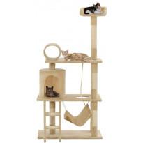 Kissan raapimispuu, sisal-pylväillä, 70x35x140cm, beige