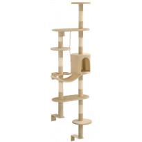 Kissan kiipeilypuu, sisal-pylväillä, seinäkiinnitys, 194cm, beige
