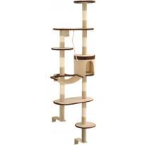 Kissan kiipeilypuu, sisal-pylväillä, seinäkiinnitys, 194cm, beige/ruskea