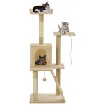 Kissan kiipeilypuu, sisal-pylväillä, 50x50x120cm, beige