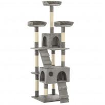 Kissan raapimispuu, sisal-pylväillä, 50x50x170cm, harmaa
