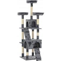 Kissan raapimispuu, sisal-pylväillä, 50x50x170cm, tassukuvio, harmaa