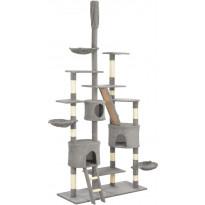 Kissan raapimispuu, sisal-pylväillä, 60x50x255cm, harmaa