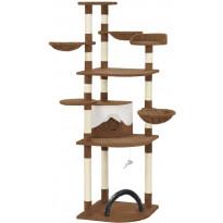 Kissan raapimispuu, sisal-pylväillä, 60x60x190cm, ruskea