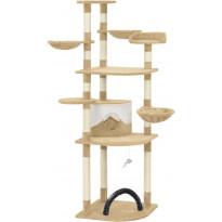 Kissan raapimispuu, sisal-pylväillä, 60x60x190cm, beige