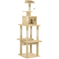 Kissan kiipeilypuu, sisal-pylväällä, 50x50x165cm, beige