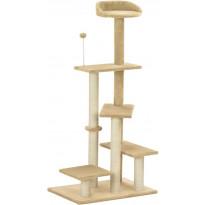 Kissan kiipeilypuu, sisal-pylväällä, 60x40x125cm, beige