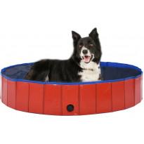 Kokoontaitettava koiran uima-allas, punainen, 160x30cm
