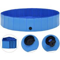 Kokoontaitettava koiran uima-allas, sininen, 160x30cm