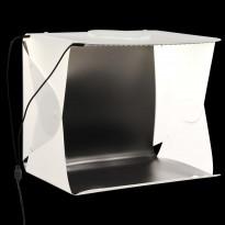 Kokoontaittuva LED-studiovalolaatikko, 40x34x37 cm, valkoinen