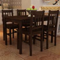 Puinen ruokapöytä 4 tuolia ruskea
