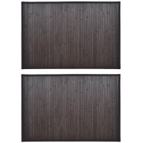 Kylpyhuoneen matot 2kpl, 40x50cm, bambu, tummanruskea