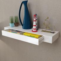 Valkoinen mdf seinähylly 1 laatikko kirja-/dvd-hylly