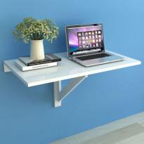 Kokoontaitettava seinäpöytä valkoinen 100x60 cm