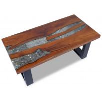Kahvipöytä tiikki hartsi 100x50 cm