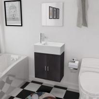 3-osainen kylpyhuoneen kaluste- ja pesuallassarja musta
