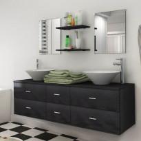 Kylpyhuoneen kaluste- ja allassarja 7 osaa musta