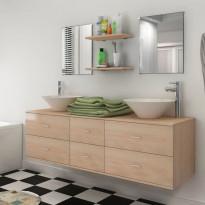Kylpyhuoneen kaluste- ja allassarja 7 osaa beige