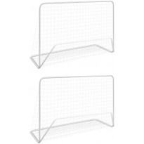 Jalkapallomaalit verkolla, 2kpl, teräs, 182x61x122cm, valkoinen