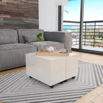 Sohvapöytä korkeakiilto valkoinen 60x60x35 cm lastulevy