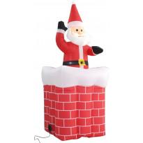 Joulupukki savupiipussa, automaattisesti liikkuva, LED, IP44, 180cm