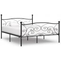 Sängynrunko sälepohjalla musta metalli 180x200 cm
