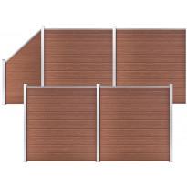 Aitasarja, 4 paneelia + 1 vinopaneeli, puukomposiitti, 792x186cm, ruskea