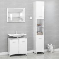 3-osainen kylpyhuone kalustesarja korkeakiilto valk.
