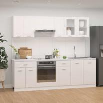 8-osainen keittiön kaappisarja korkeakiilto valkoinen
