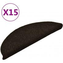Porrasmatot 15kpl, 56x17x3cm, itsekiinnittyvä, tummanruskea
