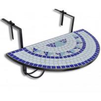 Roikkuva parvekepöytä, sininen ja valkoinen mosaiikki