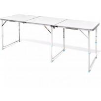 Retkipöytä 180x60cm, alumiini, korkeussäädettävä