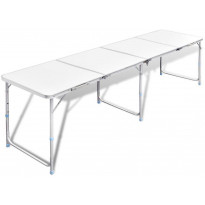 Retkipöytä 240x60cm, alumiini, korkeussäädettävä