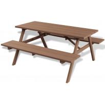 Piknikpöytä penkeillä, ruskea, 150x139x72,5cm, puukomposiitti